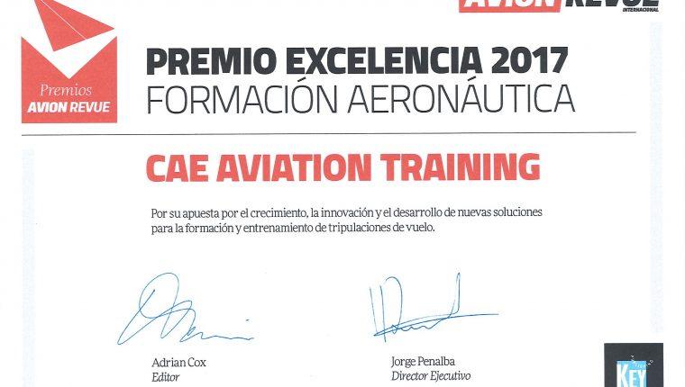 CAE España ganadora del premio a la excelencia en formación que otorga Avion Revue